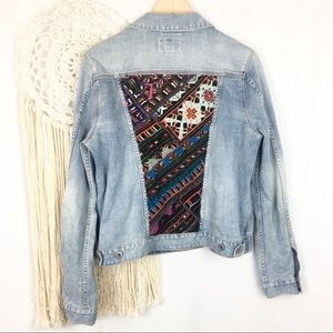 LUCKY BRAND Button Front Embroidered Jean Jacket
